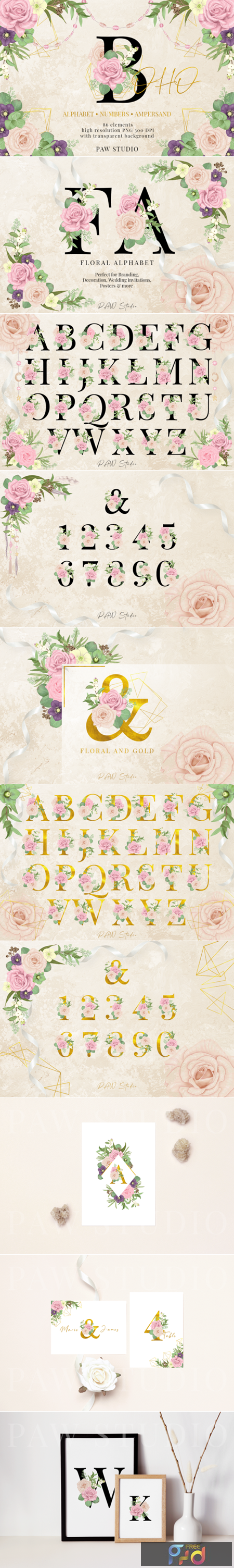 Floral Gold Letters Numbers Ampersand 3586427 1