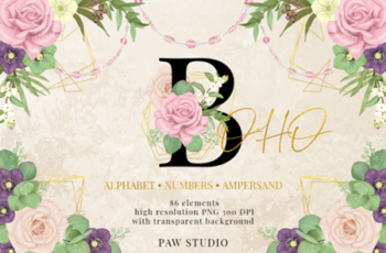 Floral Gold Letters Numbers Ampersand 3586427 8