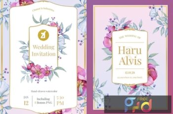 Floral Hand-drawn Watercolor Wedding Invitation JDU7F3D 3