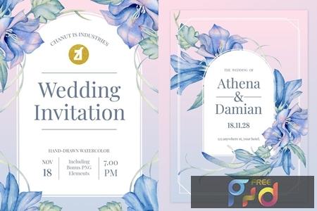 Floral Hand-drawn Watercolor Wedding Invitation DLLRU67 1