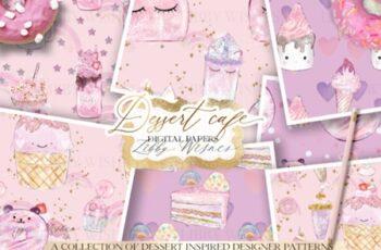 The Dessert Cafe Digital Paper Patterns 3586097 1