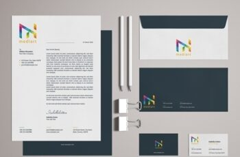 Stationery Set Layout with Colorful Design Elements 329175127 9