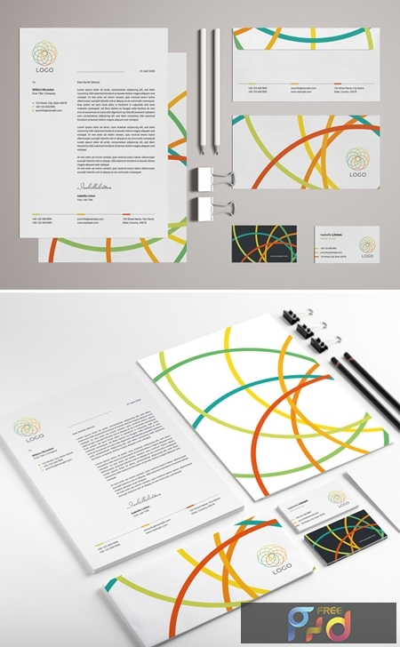 Stationery Set Layout with Colorful Logo Design Elements 329175156 1