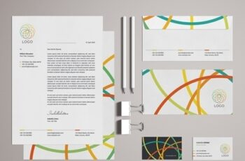 Stationery Set Layout with Colorful Logo Design Elements 329175156 8
