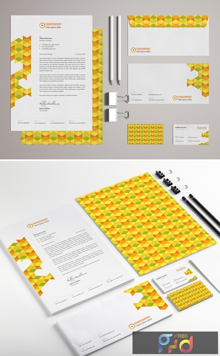 Stationery Set Layout with Colorful Pattern Elements 329175165 1