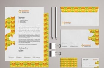 Stationery Set Layout with Colorful Pattern Elements 329175165 7