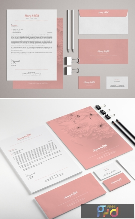 Stationery Set Layout with Pink Accents 329175181 1