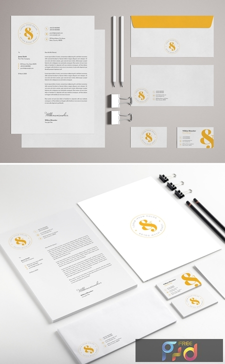 Stationery Set Layout with Yellow Accents 329175194 1