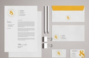 Stationery Set Layout with Yellow Accents 329175194 5