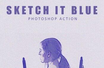 Sketch it Blue - Photoshop Action 25701143 3