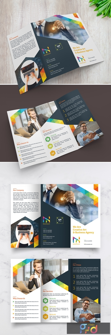 Trifold Brochure Layout with Colorful Design Elements 329175218 1