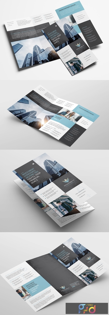 Trifold Brochure Layout with Investment Theme 329398902 1