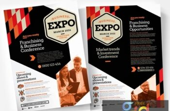 Business Flyer Layout with Orange Geometric Elements and Overlays 330835429 12