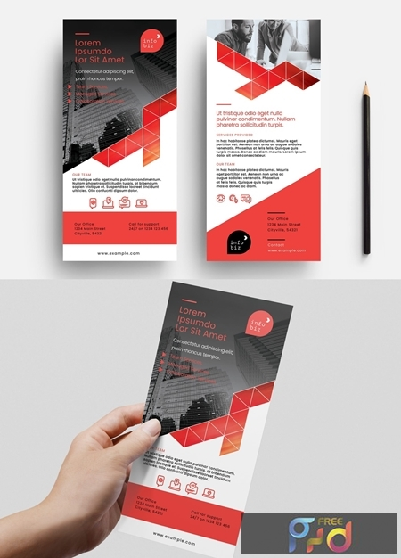 Flyer Layout with Orange Geometric Elements 330835790 1