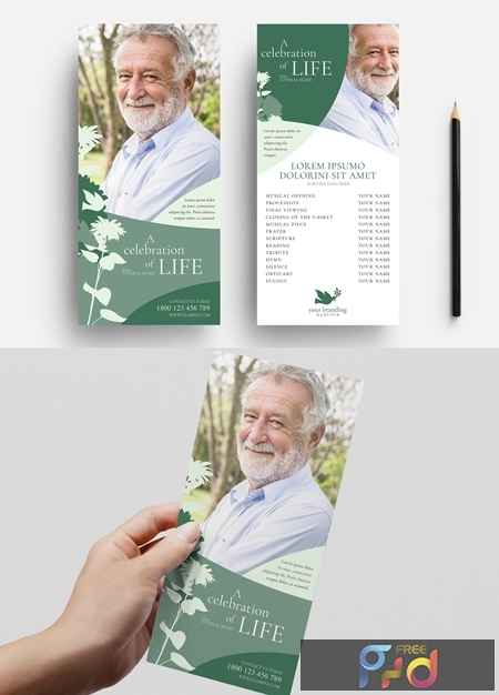 Funeral Service Flyer with Green Floral Illustrations 330835542 1
