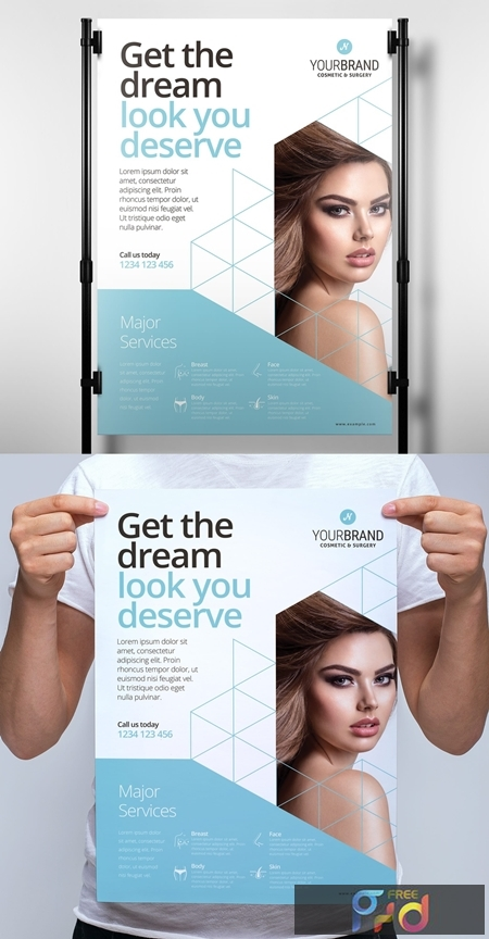 Pale Blue and White Poster Layout with Cosmetic Procedure Illustrations 330835520 1