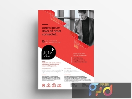 Red and White Business Flyer Layout with Geometric Elements 330835692 1