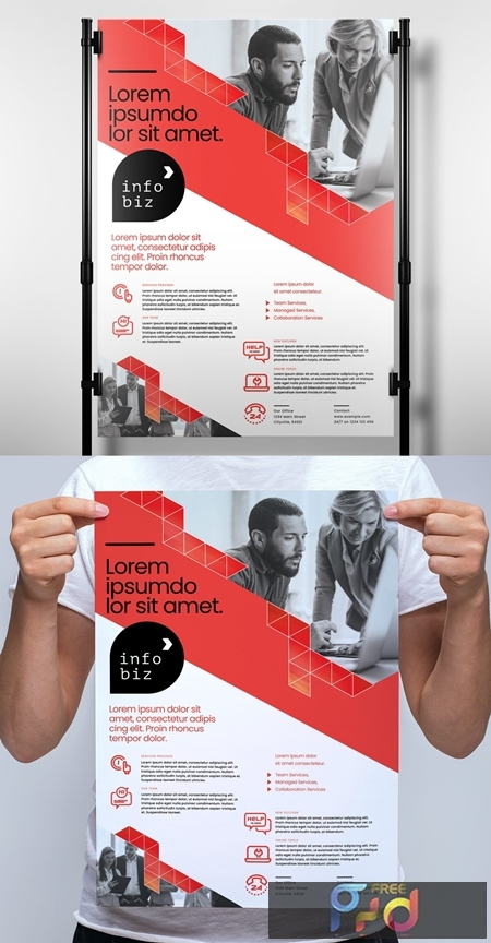 Red and White Business Poster Layout with Geometric Elements 330835822 1