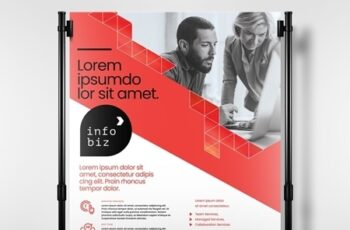 Red and White Business Poster Layout with Geometric Elements 330835822 3