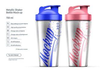 Two Metallic Shaker Bottle Mock-up 4504308