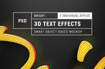Bright 3D Text Effect Mockup 26011933 5