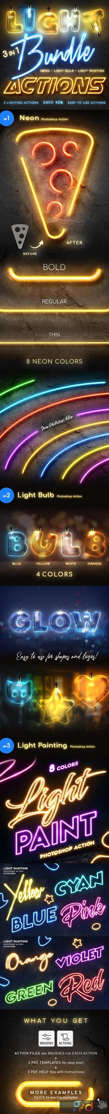 Lighting Photoshop Actions Bundle 25882789 1