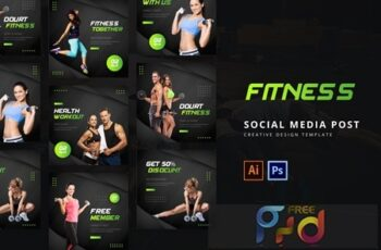 Fitness Social Media Post Template FM826UV 5