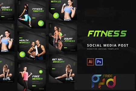 Fitness Social Media Post Template FM826UV 1