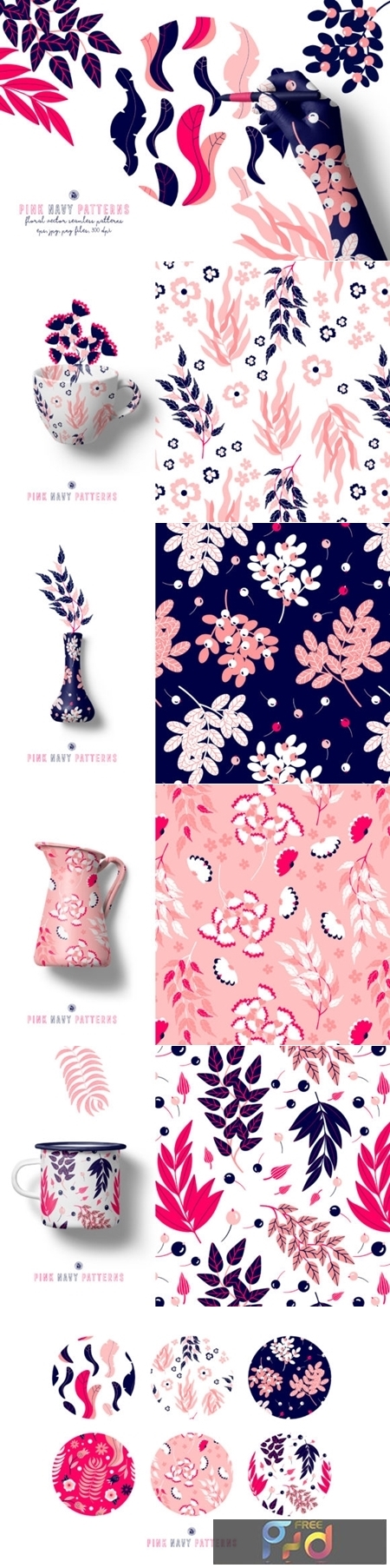 Pink Navy Vector Patterns 3719789 1