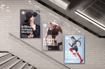 Billboards on Underground Stairs Wall Mockup 333526375 4
