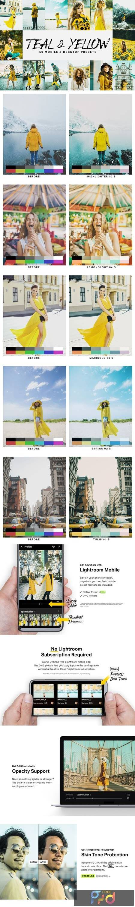 50 Teal & Yellow Lightroom Presets and LUTs 4747346 1