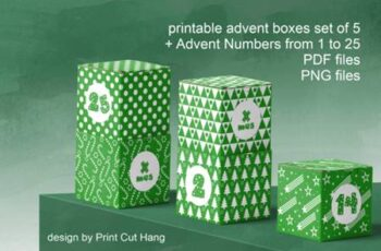 Green Advent Cube Boxes PDF Templates 3806070 4