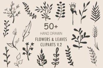 Handmade Flowers & Leaves Cliparts V.2 3787008 6