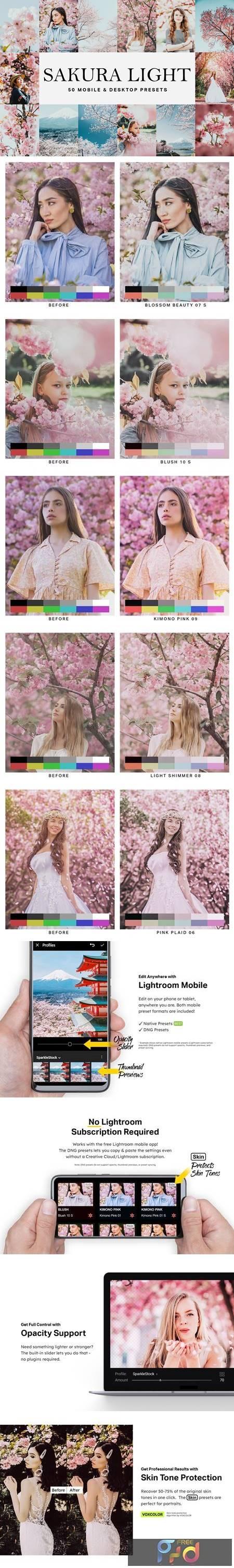 50 Sakura Light Lightroom Presets and LUTs 4783167 1