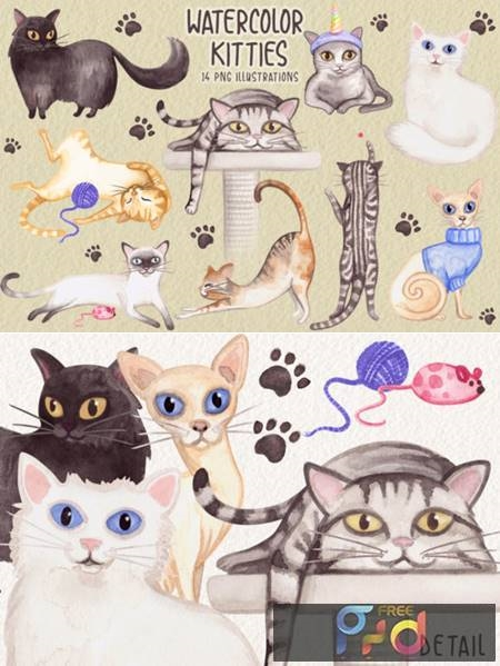 Watercolor Cats Collection 3783956 1
