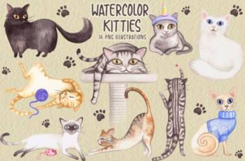 Watercolor Cats Collection 3783956