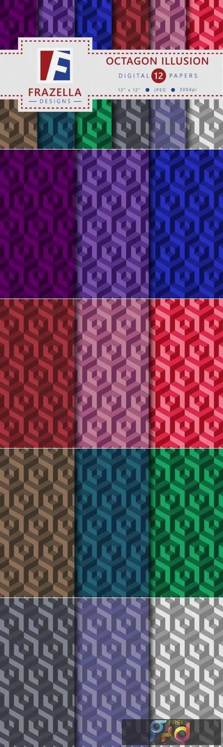 Octagon Illusion Geometric Pattern Set 3821479 1
