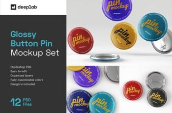 Glossy Button Pin Mockup Set 4489316 6