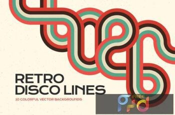 Retro Disco Lines Vector Backgrounds Pack BVRTCYF 5