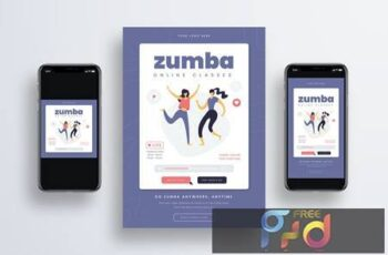 Zumba Online Class Flyer + Social Media M9JPYR6 2