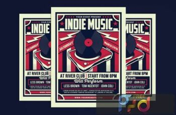 Indie Music Retro Flyer ZNNNX9J 13