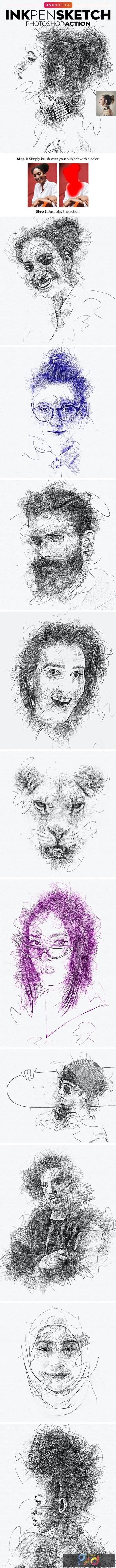 Ink Pen Sketch Photoshop Action 25914944 1