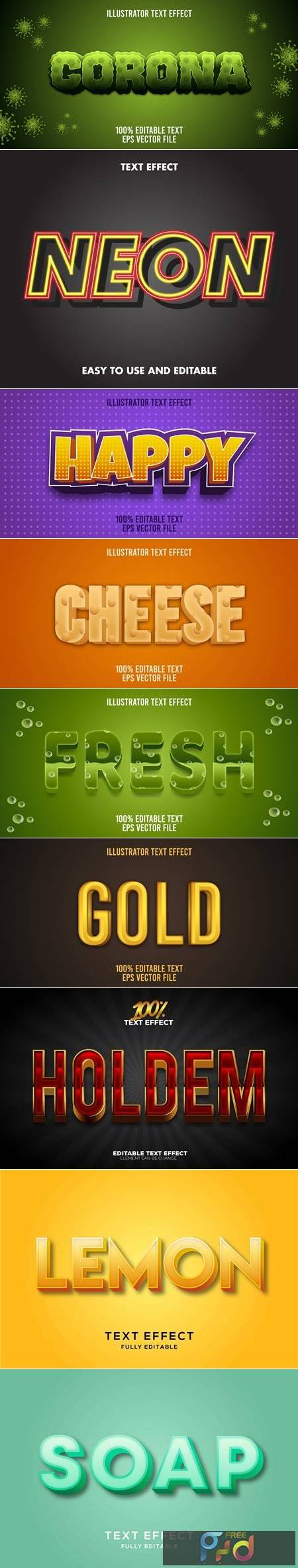 Editable font effect text collection illustration design 56 1