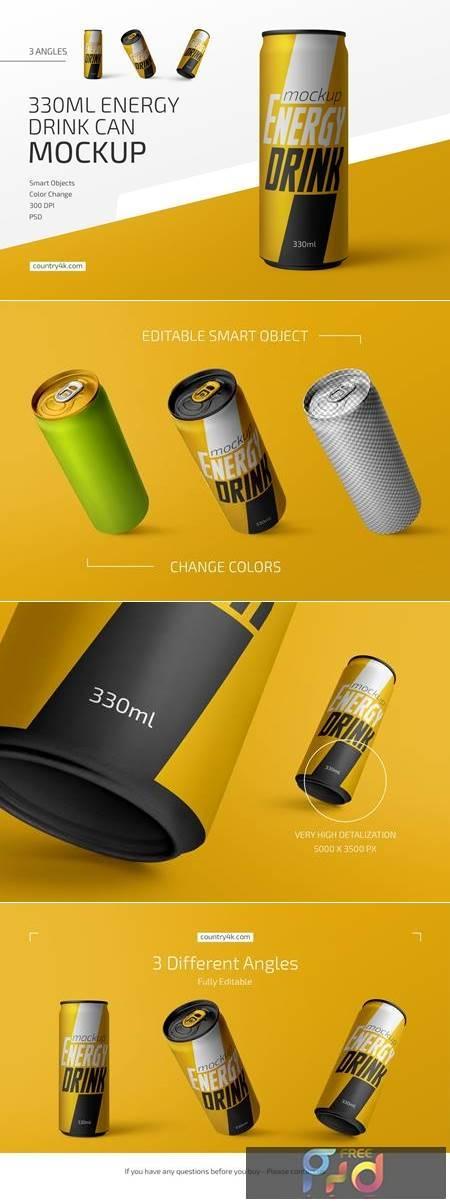 330ml Energy Drink Can Mockup Set 4786606 1