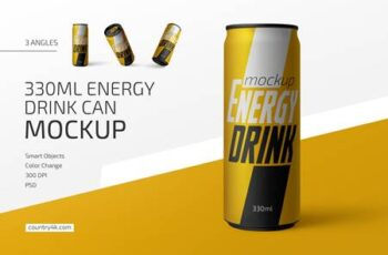 330ml Energy Drink Can Mockup Set 4786606 2
