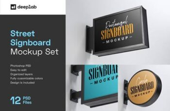 Street Signboard Mockup Set 4774293 11