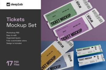 Tickets Mockup Set - 17 styles 4328495 5