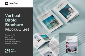 Vertical Bifold Brochure Mockup Set 4805439 2