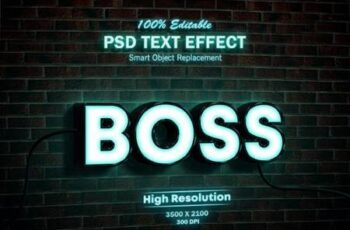Neon Light Sign 3D Mock-up PSD Text Effect 26315239 6