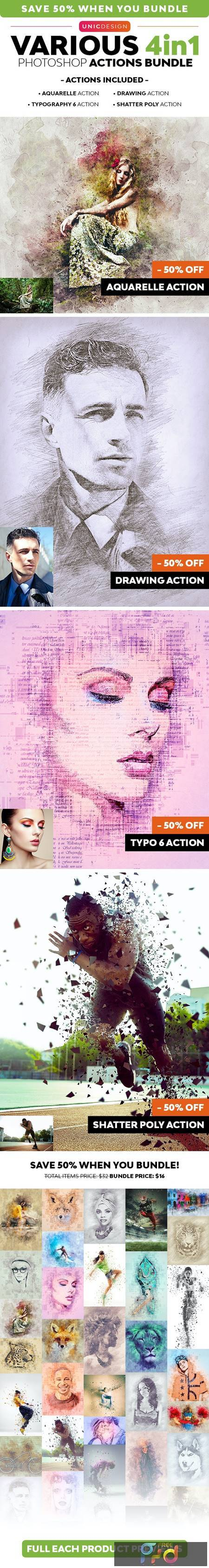 Various 4in1 Photoshop Actions Bundle 26390058 1